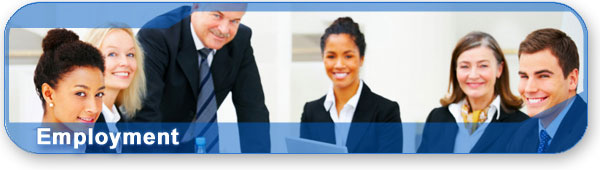 Employment section banner with photo of professionals around a table.